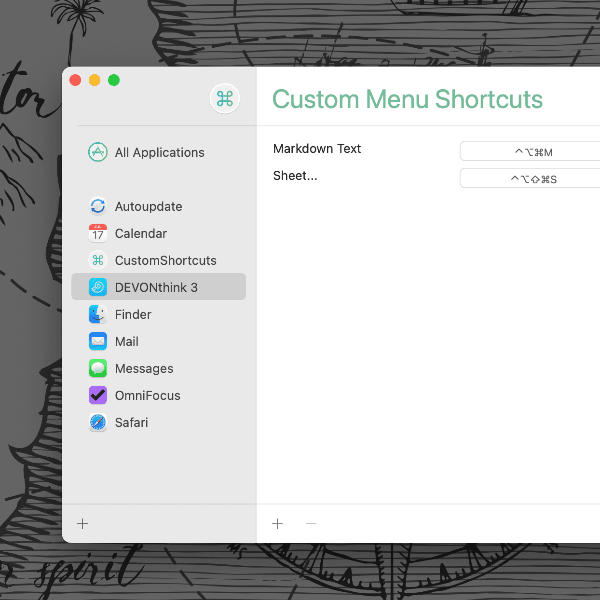 CustomShortcuts application window.