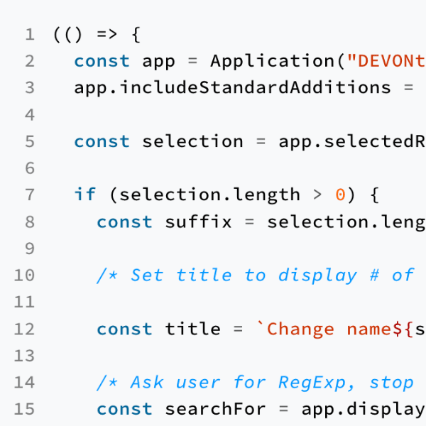 Example JavaScript code automating DEVONthink.